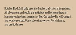 Butchers Block Grill Menu Ingredients